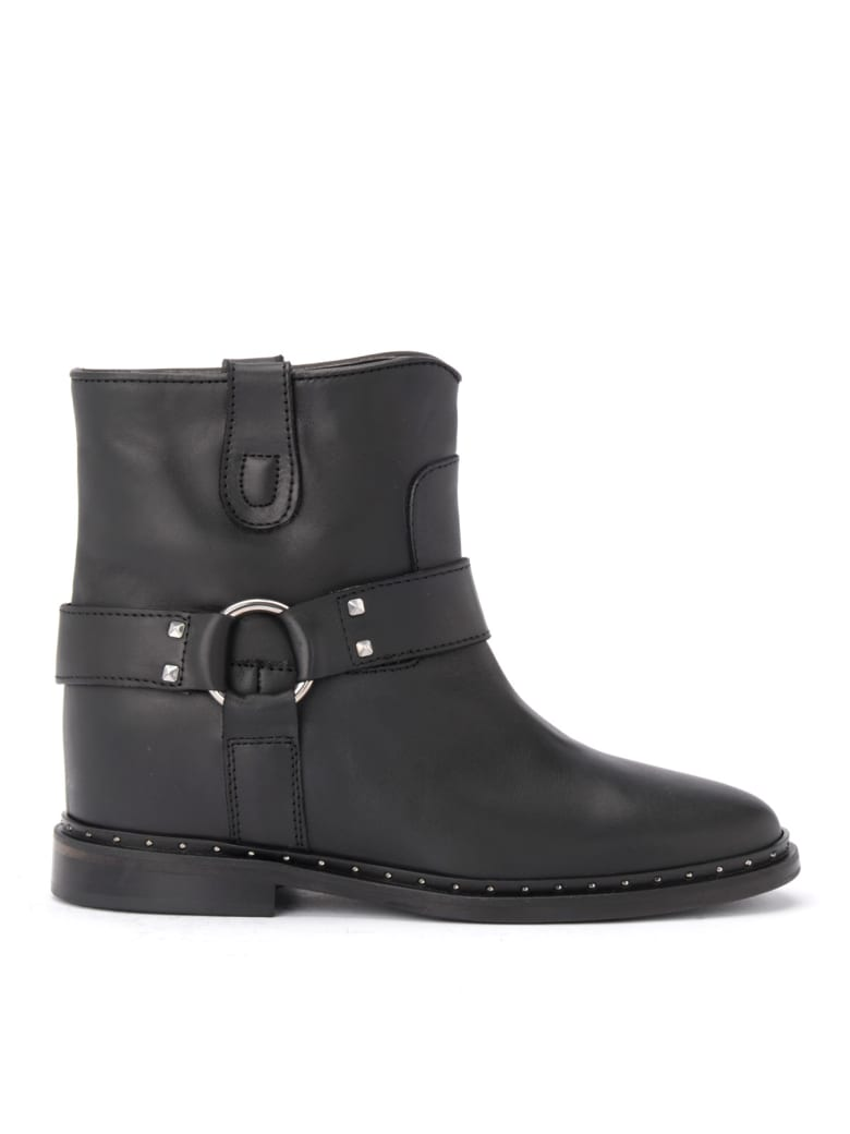 Via Roma 15 Black Leather Via Roma 15 Ankle Boot With Micro Studs And Strap - NERO