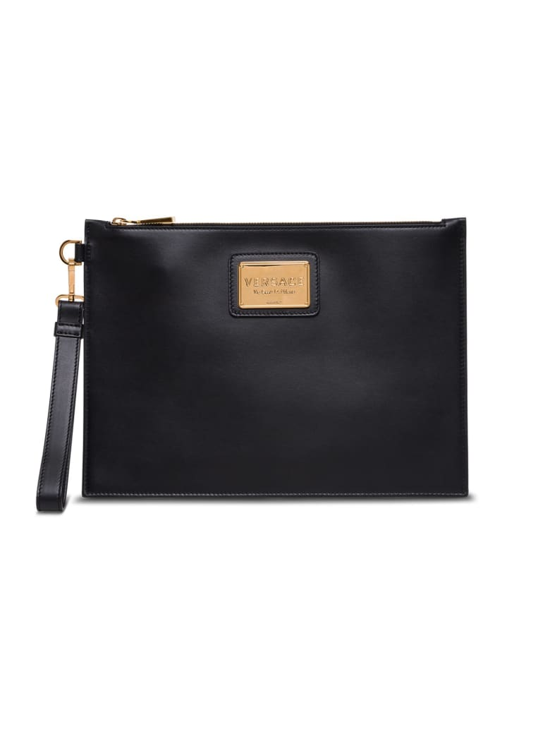 Versace Small Leather Clutch With Engraved Logo - Black
