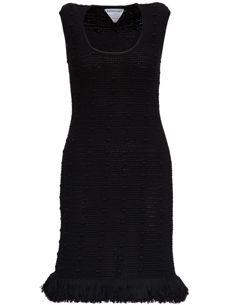 Bottega Veneta Crochet Dress With Fringed Bottom - Black