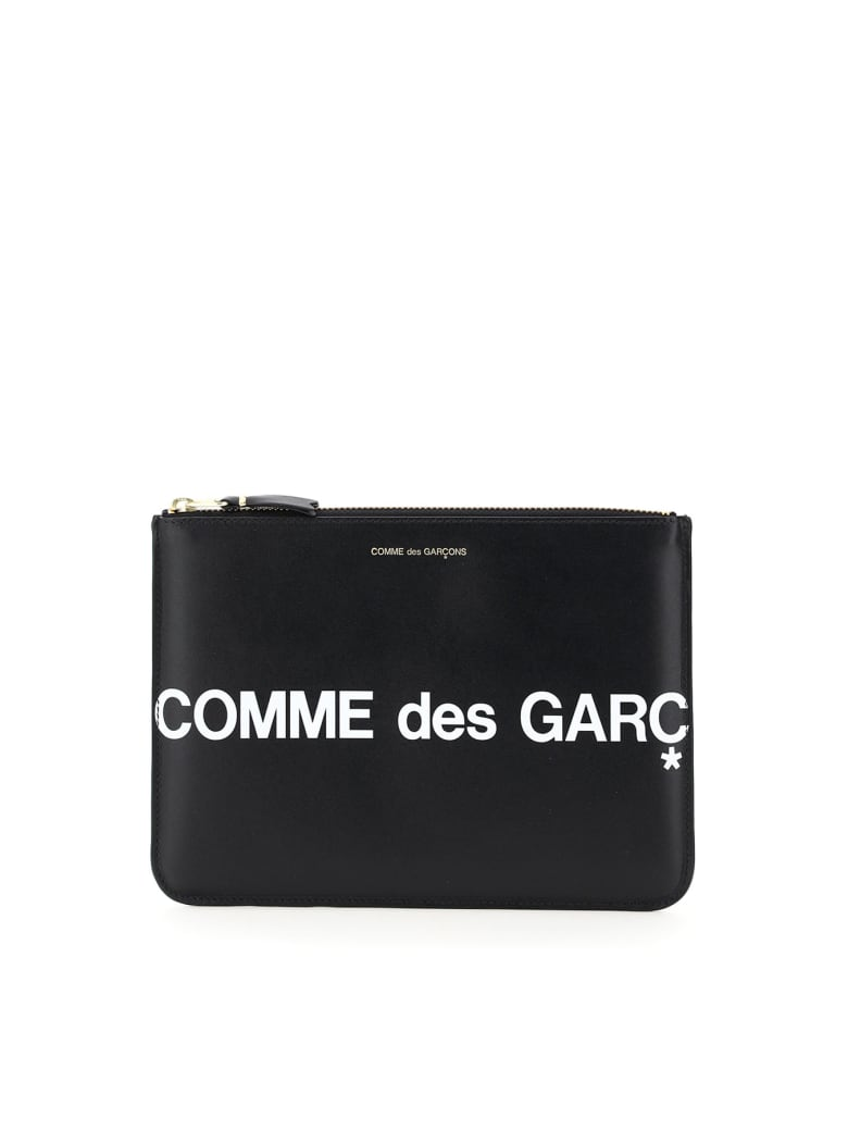 Comme des Garçons Wallet Leather Pouch With Logo - Nero