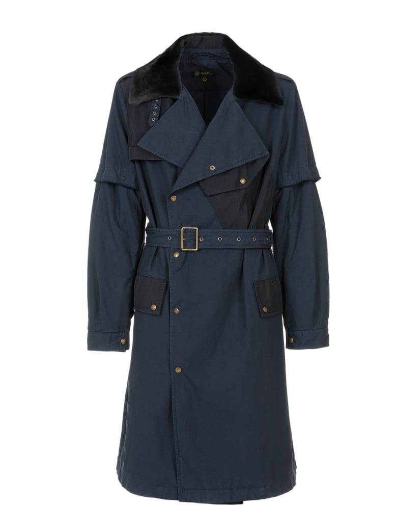 Mr & Mrs Italy Nick Wooster Capsule Unisex Trench With Lamb Fur - NIGHT BLUE / BLUE / BLACK