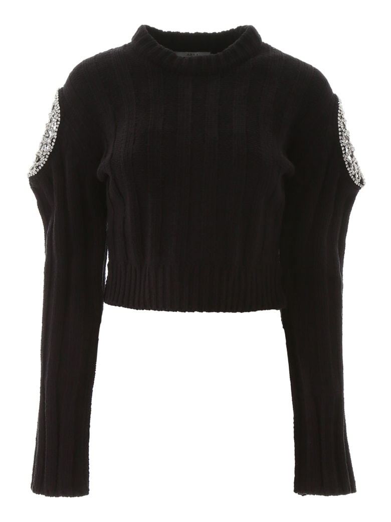 AREA Cropped Pullover With Crystals - BLACK (Black)