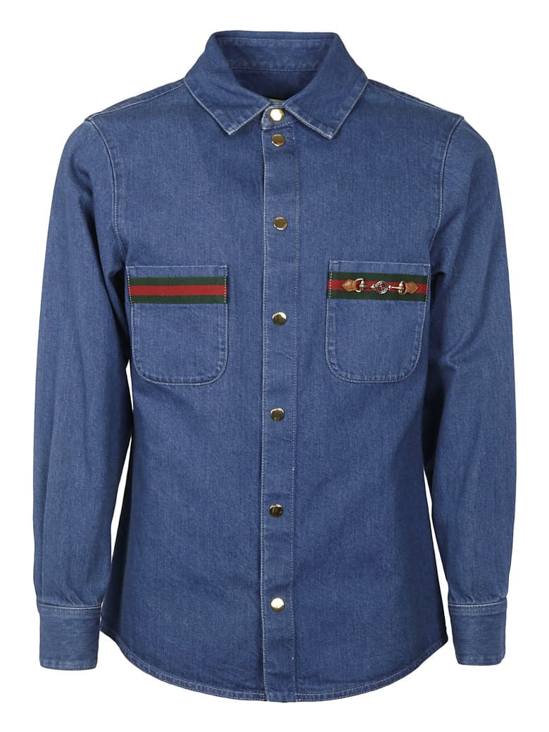 Gucci Double Patch Pocket Denim Jacket - Blue Mix