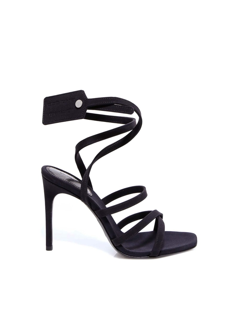 Off-White Satin Ziptie Sandal Sandals - Black