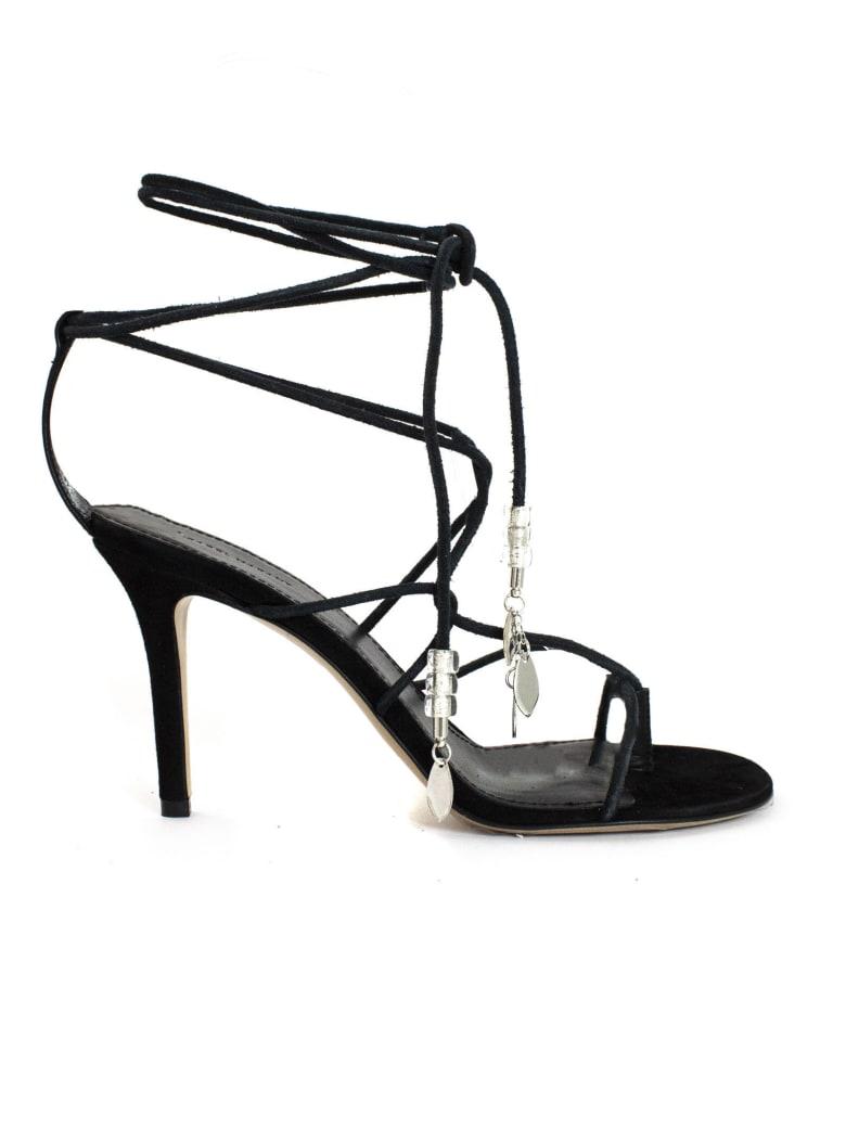 Isabel Marant Black Calfskin Velvet Leather Sandals - Nero