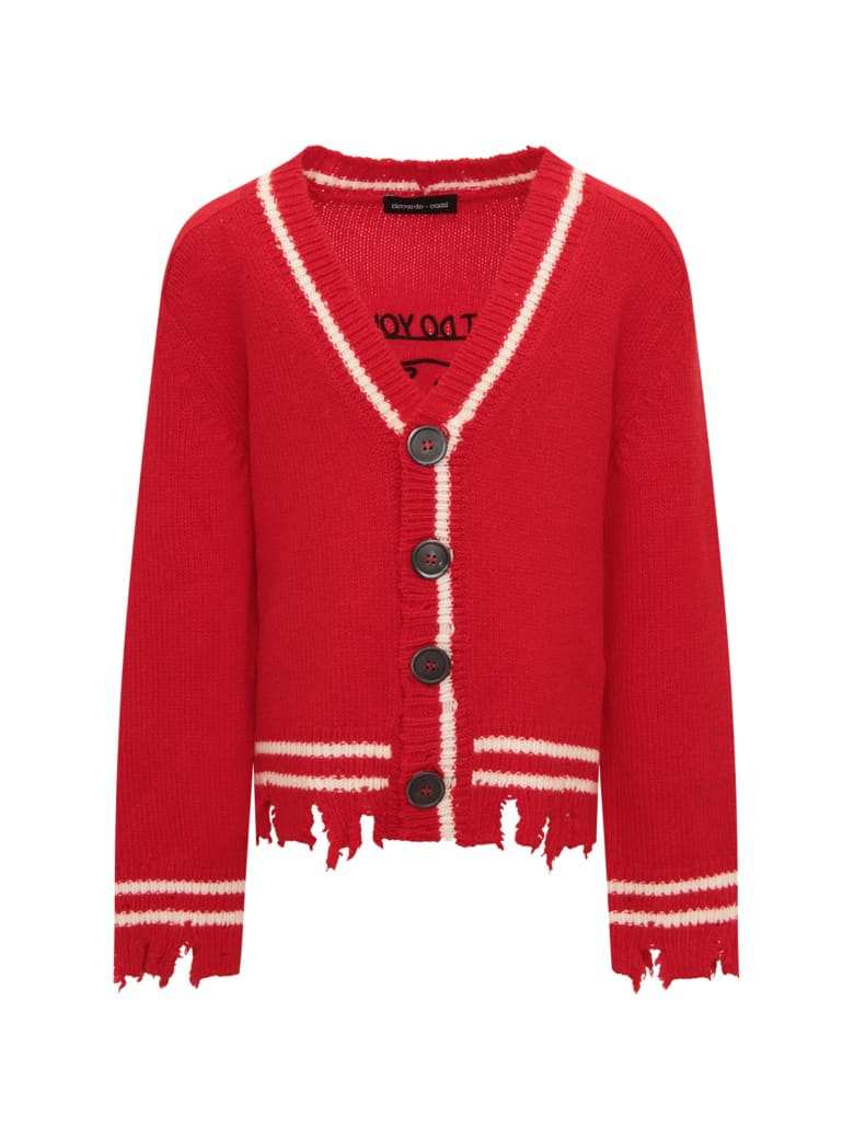 Riccardo Comi Red Cardigan With Ivory Details - Red