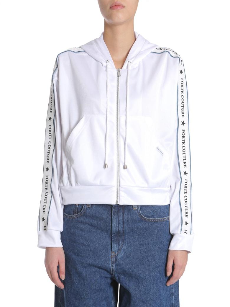 Forte Couture Short Hooded Sweatshirt - BIANCO