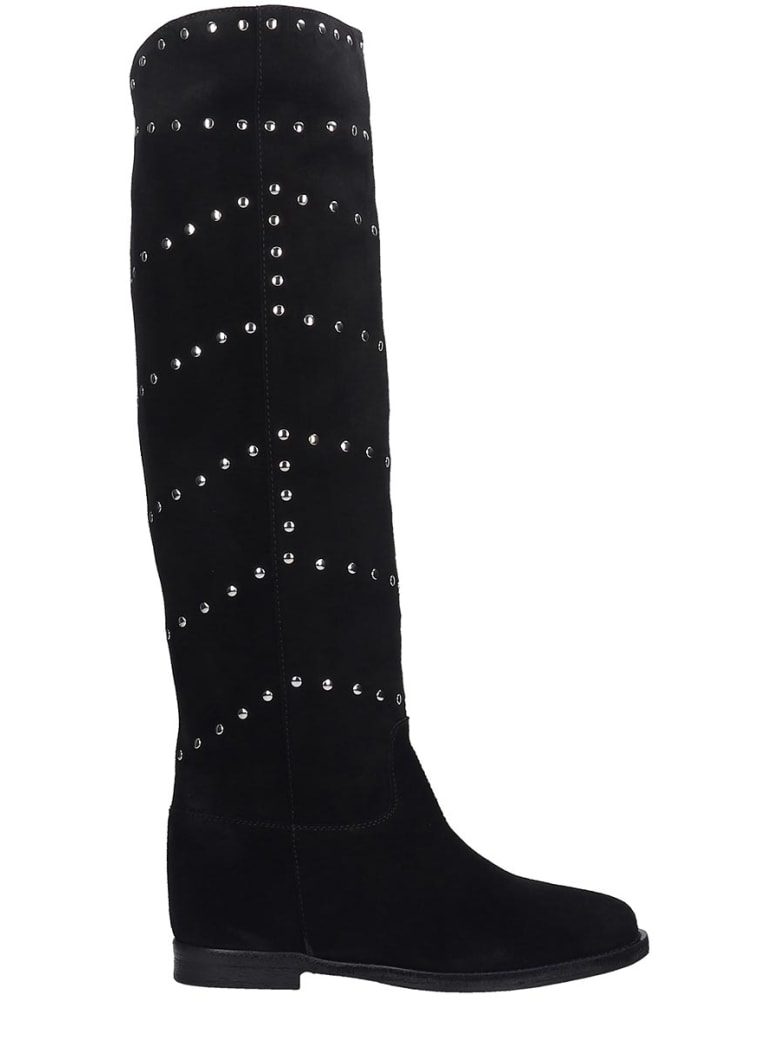 Via Roma 15 Boots In Black Suede - black