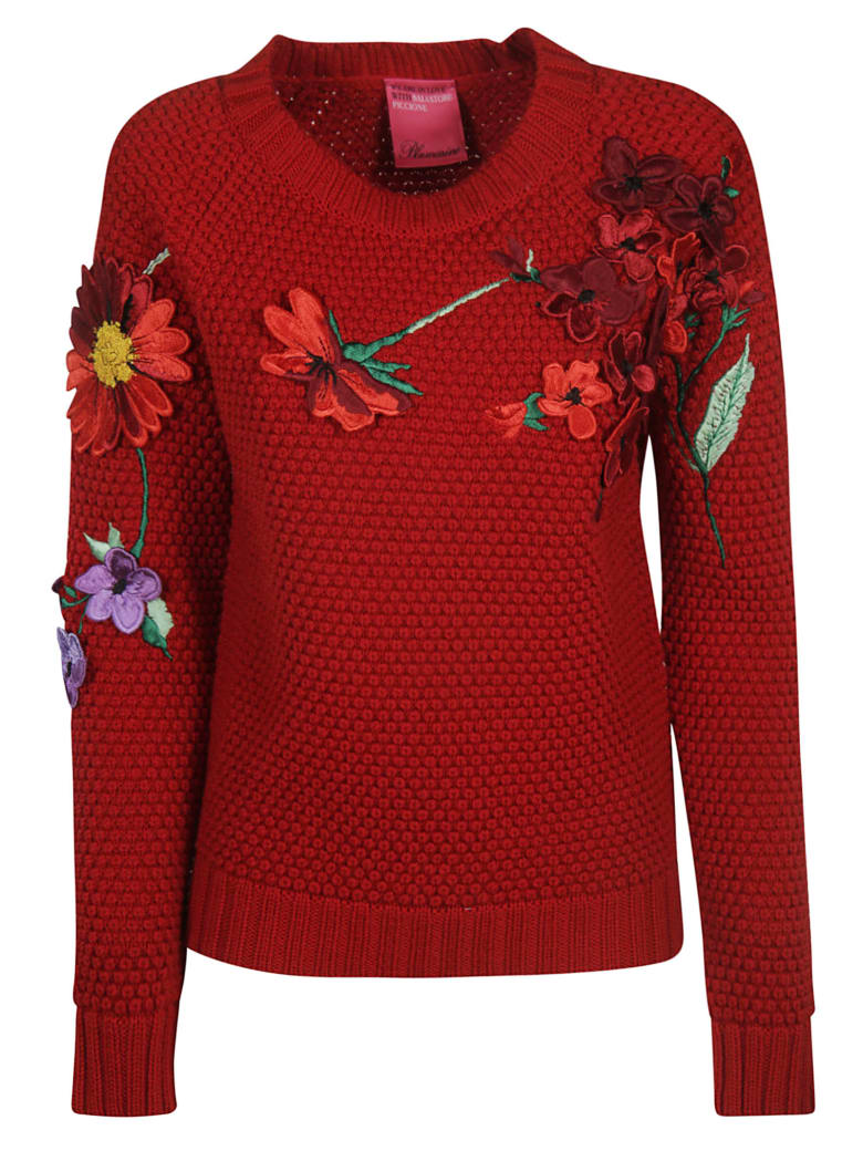 Blumarine Floral Appliques Sweater - red