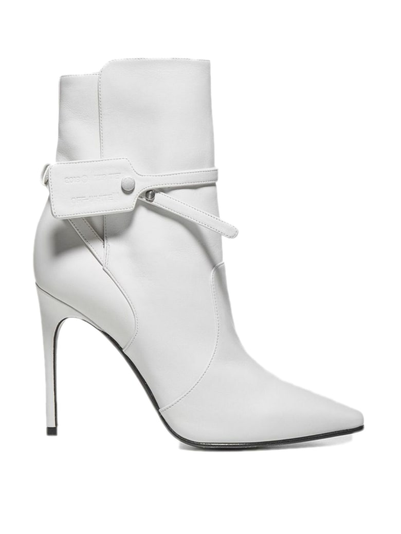 Off-White White Calfskin Ankle Boots - Bianco