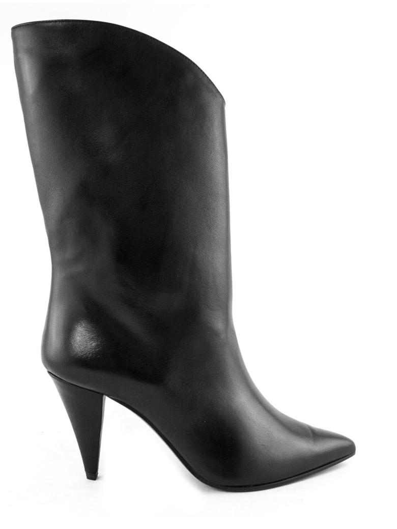 Aldo Castagna Black Leather Pippi Boot - Nero