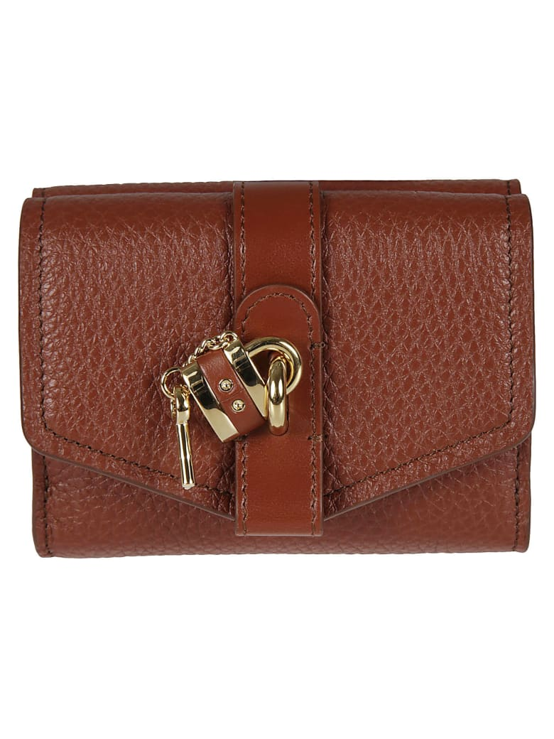 Chloé Small Tri Fold Wallet - Sepia Brown