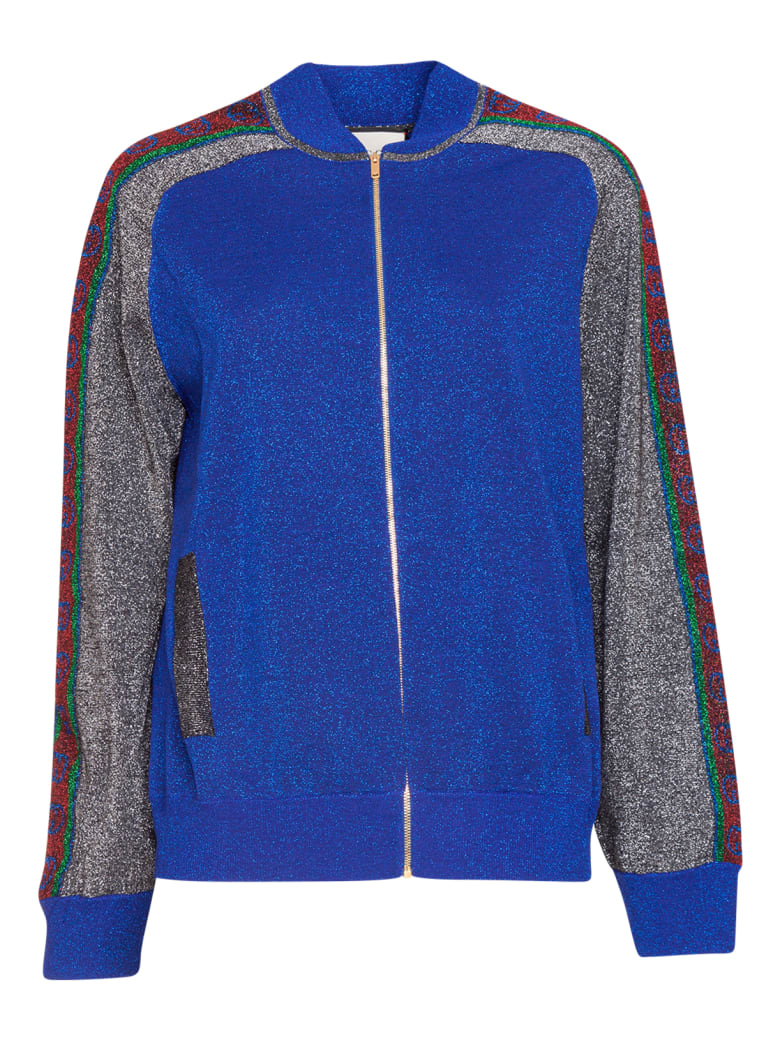 Gucci Wool Lamé Bomber Jacket - Blue