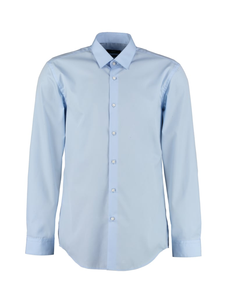 BOSS Black Slim Fit Cotton Shirt - Blue