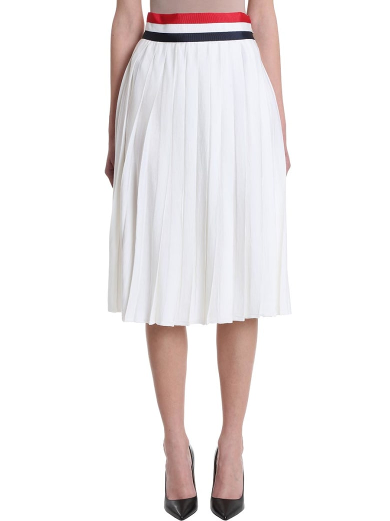 Thom Browne Pleated Midi Skirt - white