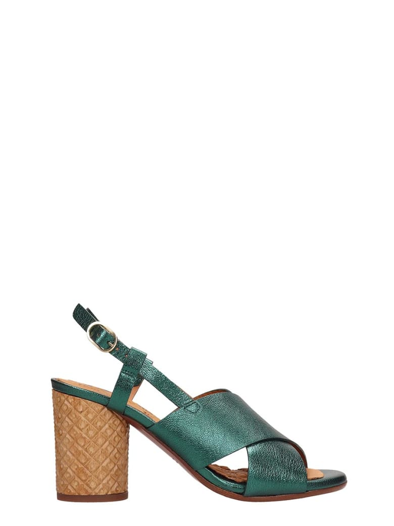 Chie Mihara Green Metallic Leather Sandals - green