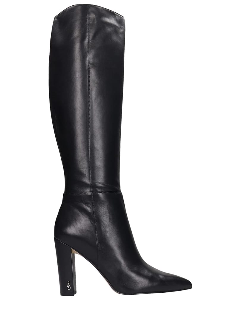 Sam Edelman Raakel High Heels Boots In Black Leather - black