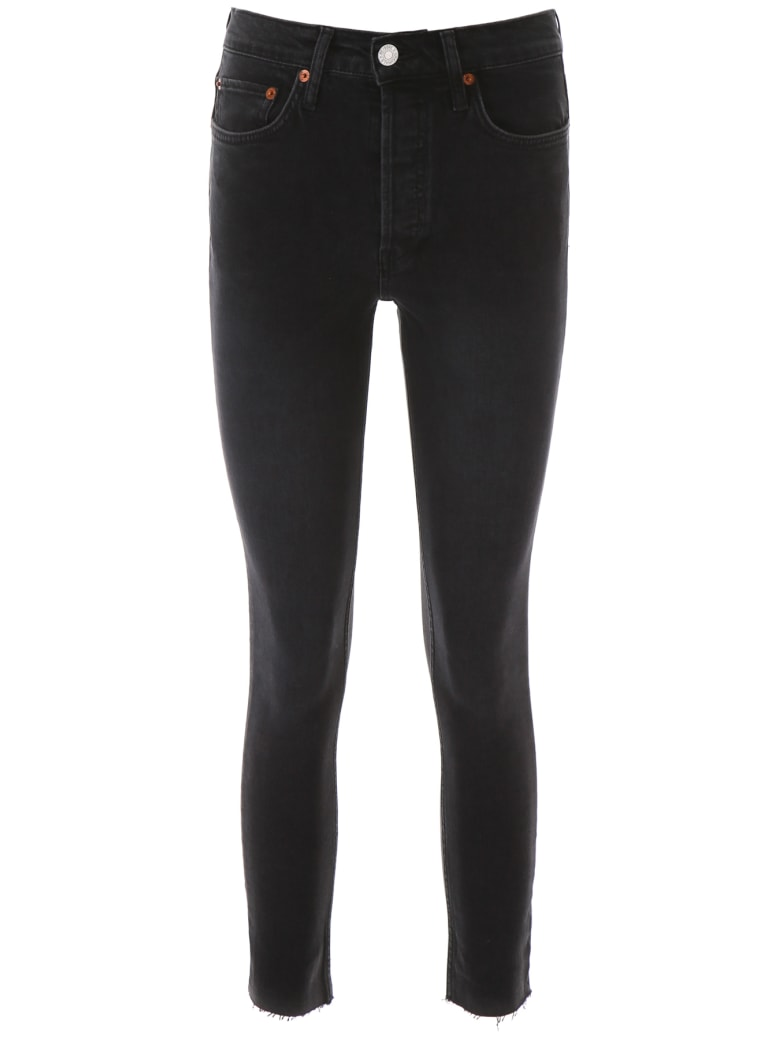 RE/DONE Skinny High Rise Jeans - FACED BLACK (Black)