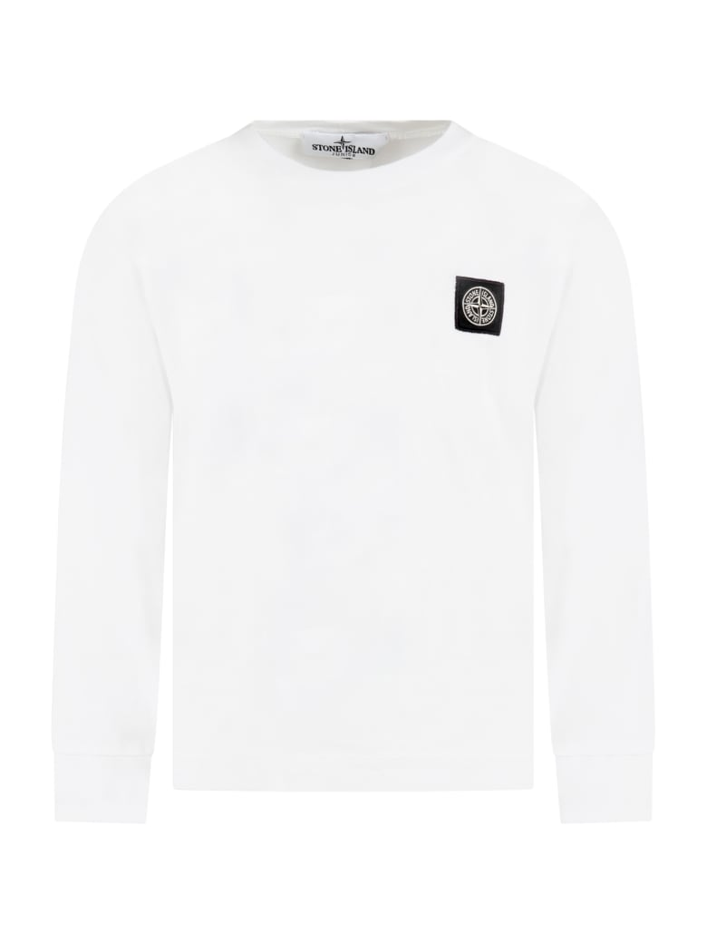 Stone Island Junior White T-shirt Fo Boy With Iconic Compass - White