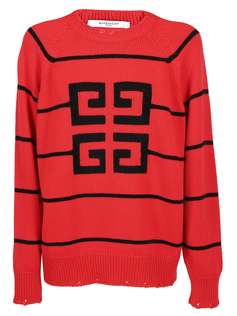 Givenchy Jacquard Logo Sweater - Red black