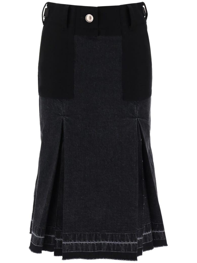 Sacai Bi-material Denim Skirt - BLACK (Black)