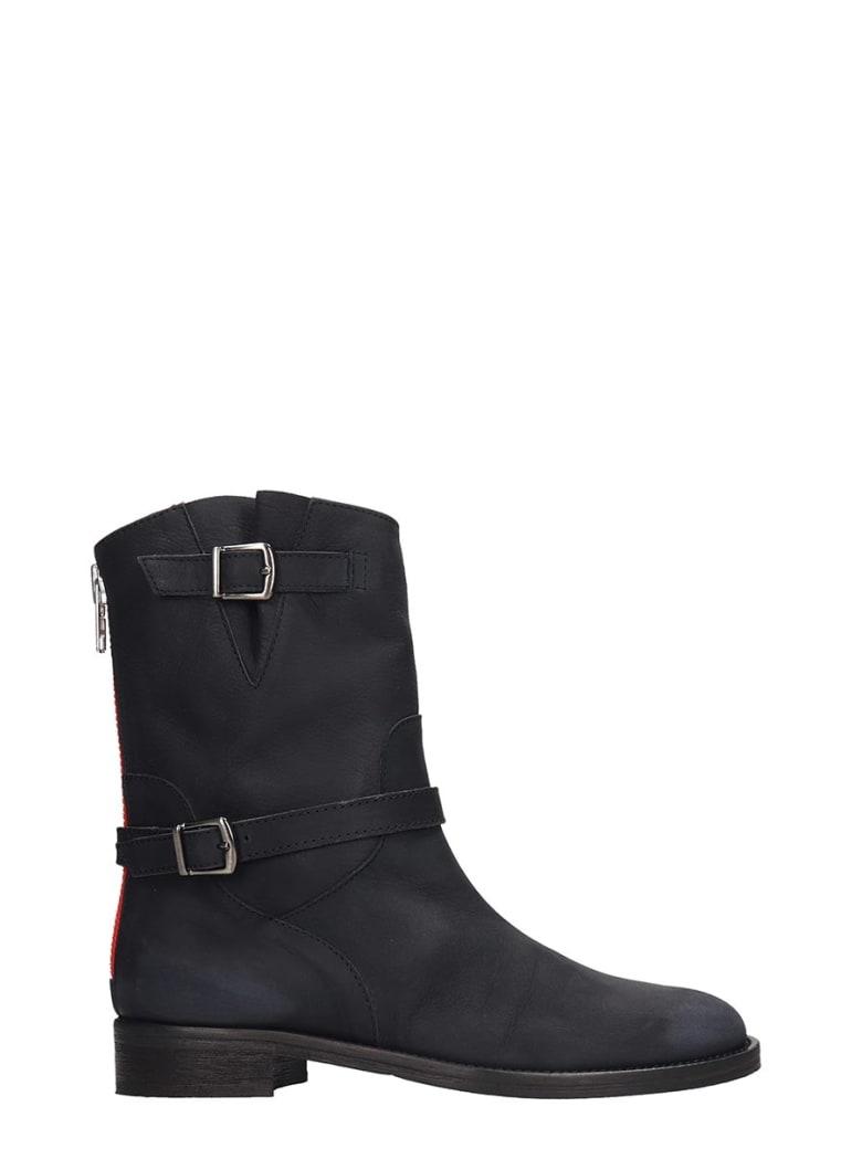 Via Roma 15 Combat Boots In Black Leather - black