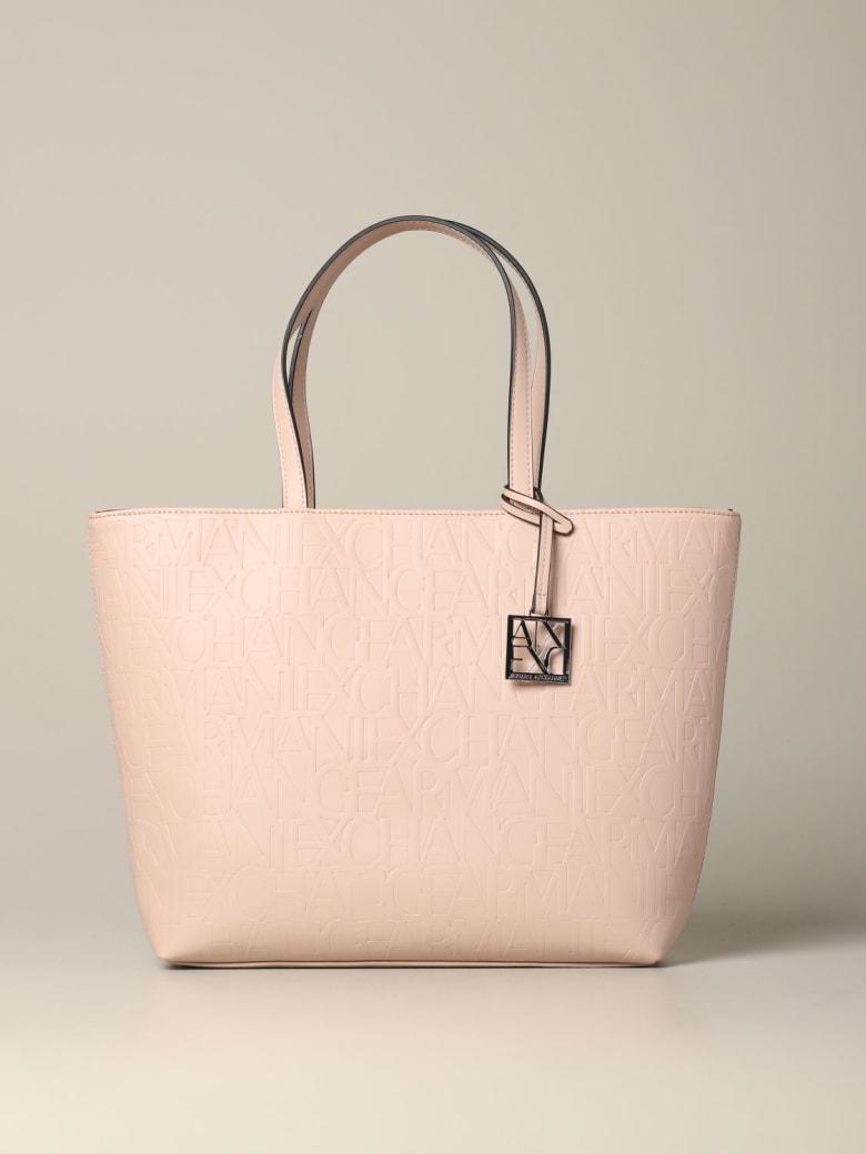 Armani Collezioni Armani Exchange Tote Bags Armani Exchange Shopping Bag In Logoed Leather - mastic