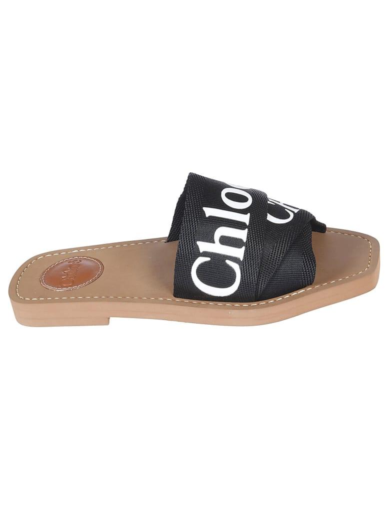 Chloé Logo Strap Sliders - Black