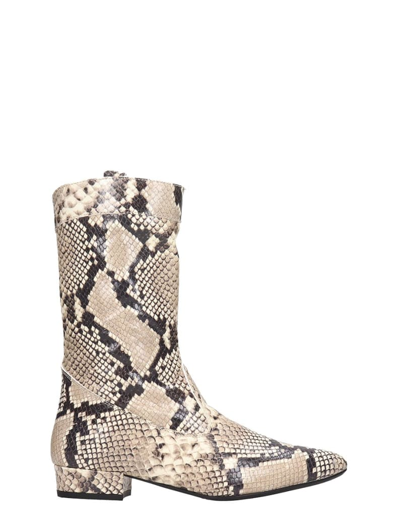 Fabio Rusconi Low Heels Ankle Boots In Animalier Leather - Animalier