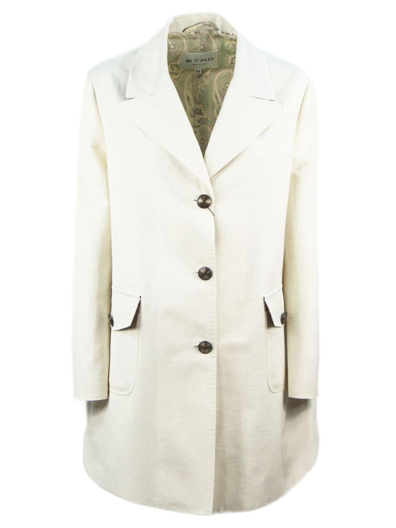 Etro Silk And Cotton Coat - Panna