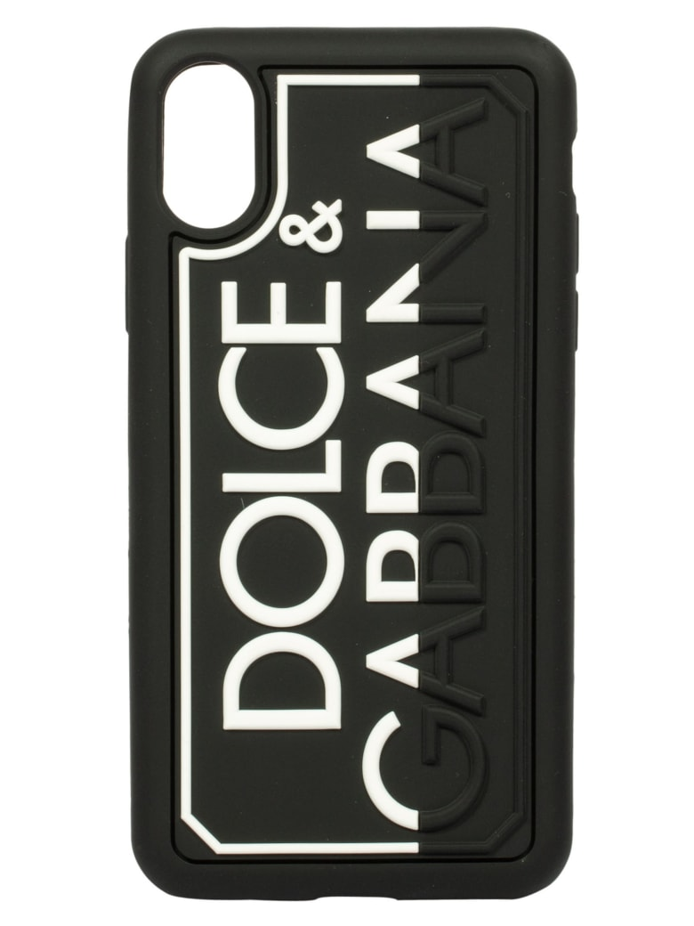 Dolce & Gabbana Logo Embossed Phone Cover - Black/White