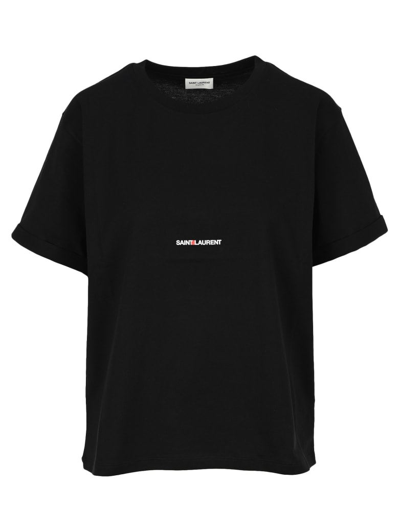 Saint Laurent Logo Print T-shirt - BLACK