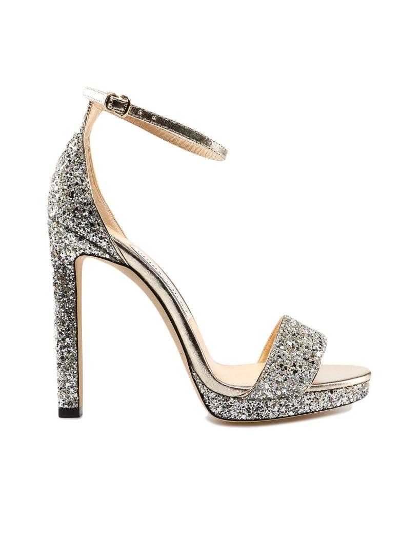 Jimmy Choo Glitter Fabric Sandal - Champagne