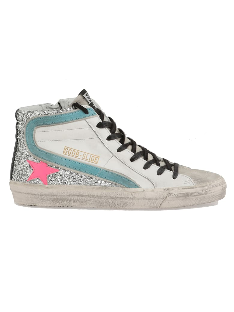 Golden Goose Slide Sneaker - WHITE-SILVER GLITTER-FUXIA STA