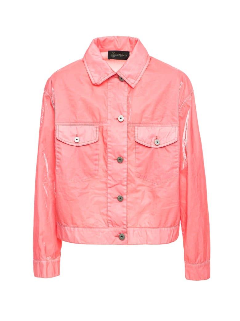Mr & Mrs Italy Cotton Velvet Tech Short Jacket For Woman - POWDER PINK