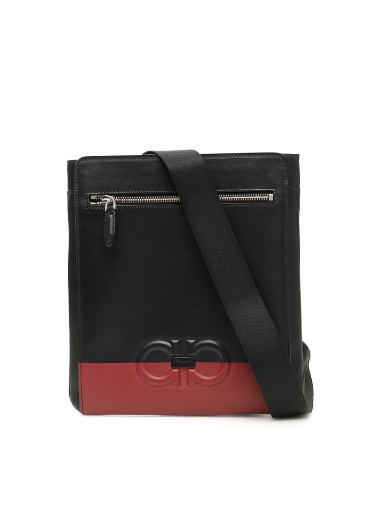 Salvatore Ferragamo Bicolor Gancini Messenger Bag - NERO (Black)