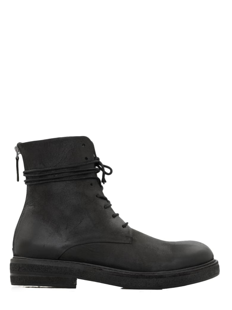 Marsell Stressed Leather Boots - Black