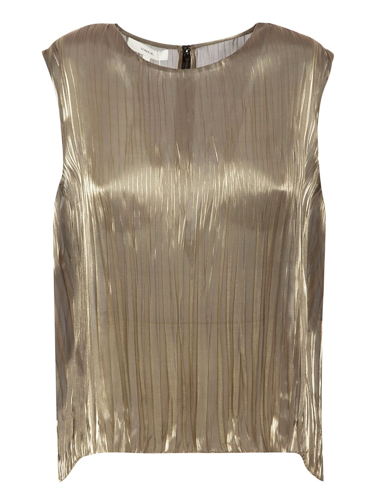Vince Iridescent Pleated Shell Top - Moonstone