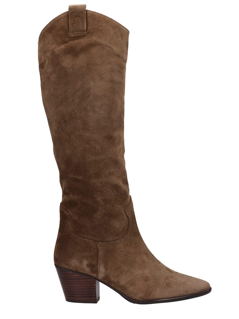 Pedro Miralles Cortina Texan Boots In Taupe Suede - taupe