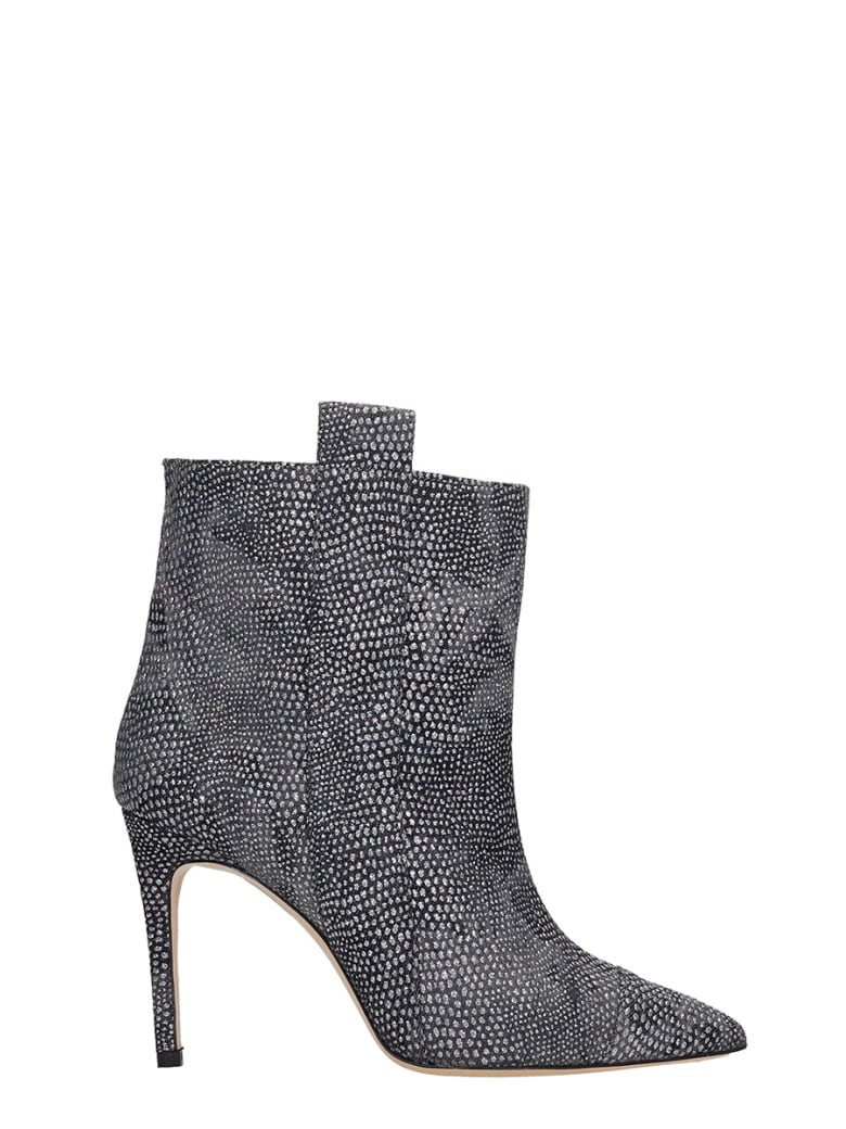 Bams High Heels Ankle Boots In Black Leather - black