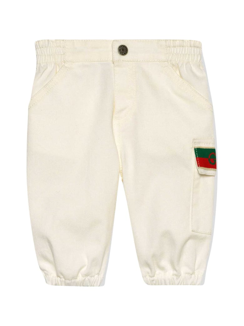 Gucci White Trousers With Logo Detail - Bianco