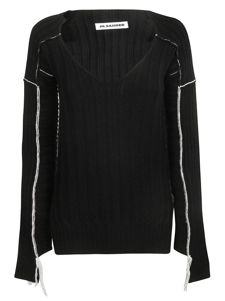 Jil Sander V-neck Knitted Sweater - Black