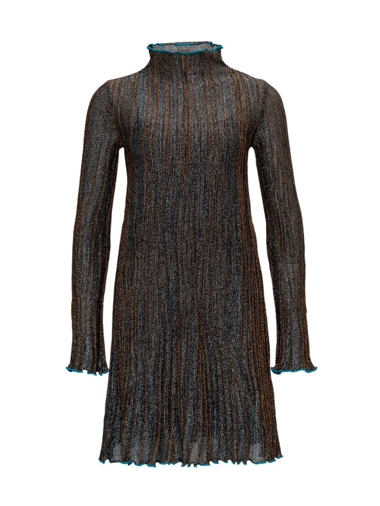 M Missoni Corteccia Flared Dress In Lurex Knit - Blu