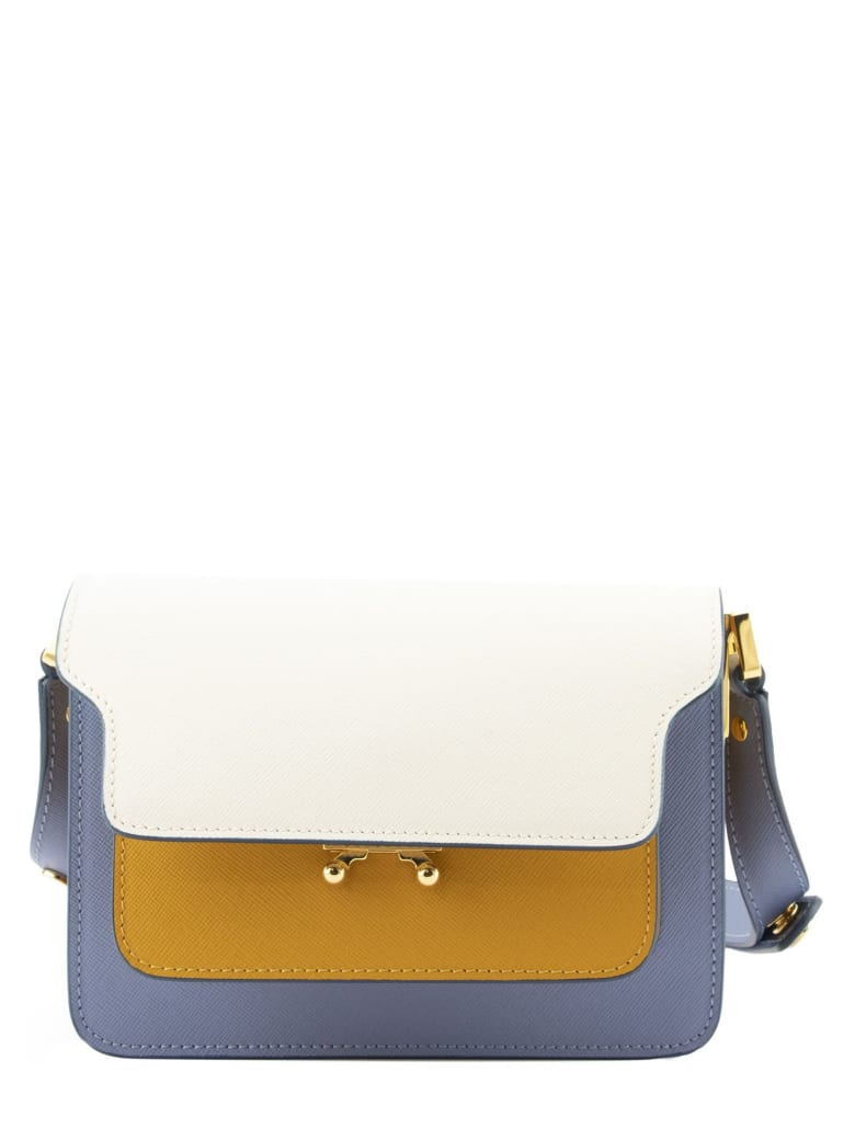 Marni Trunk Minibag In Saffiano Leather Natur White Yellow And Pale Blue - Natur White/yellow/pale Blue