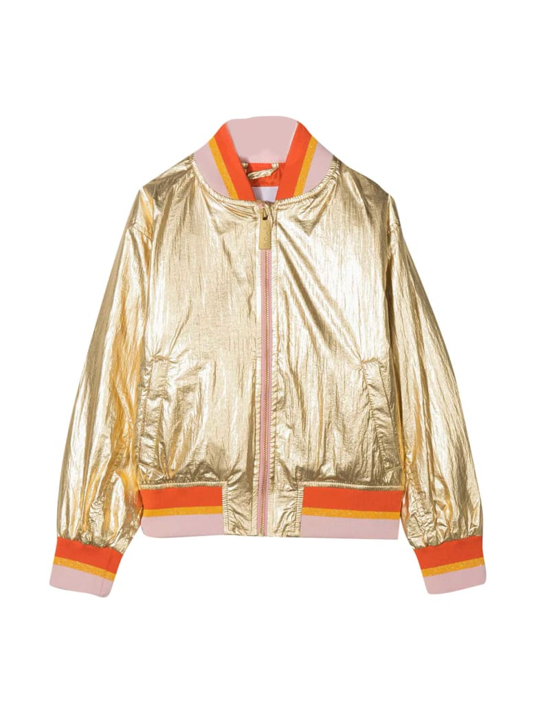 Molo Gold Jacket With Orange Details - Oro
