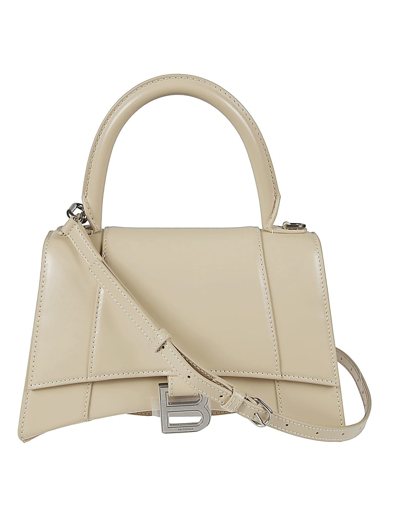 Balenciaga Hourglass Top Handle Shoulder Bag - Beige