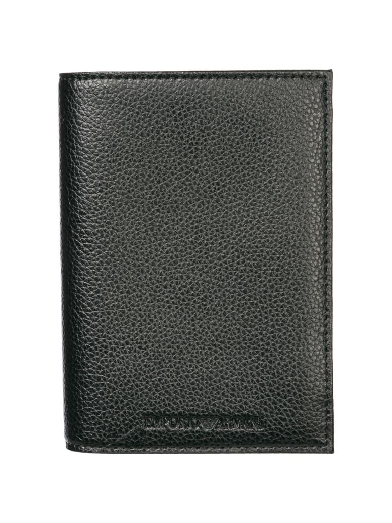 Emporio Armani  Travel Document Passport Case Holder - Black