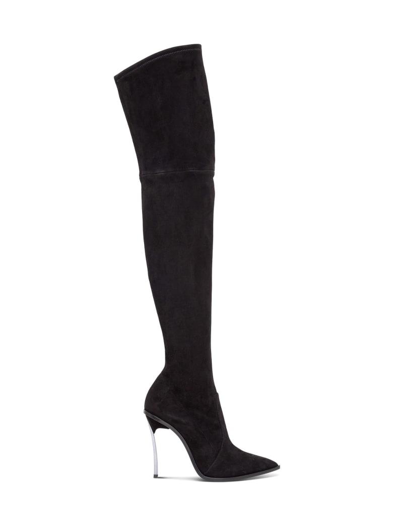 Casadei Maxi Blade Suede Boots - Black