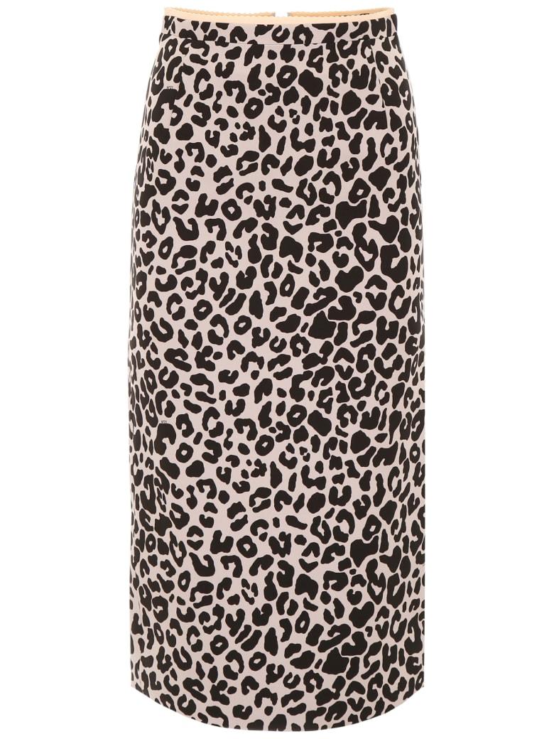 N.21 Leopard Printed Midi Skirt - NUDE BLACK (Pink)