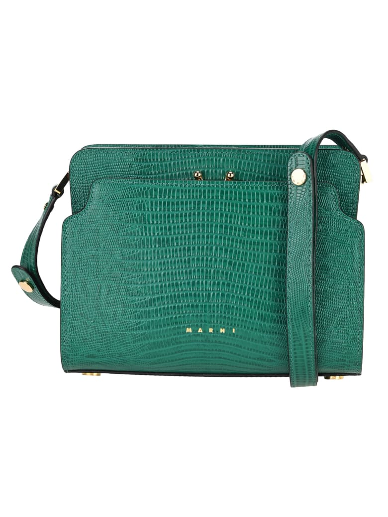 Marni Trunk Reverse Shoulder Bag In Lizard-print Calf-skin - GREEN